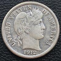 1912 Barber Dime 10c High Grade AU Details #31236