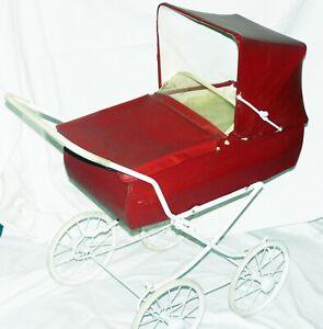 DDR Puppenwagen Rot *Feiner KG* 60er Jahre gebraucht Fundzustand  90 x 85 x 38 c