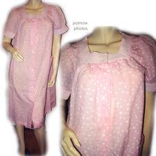 LEISURE LIFE Womens Night Dress Nighty Nightgown Sleepwear Pink White Polka Dots