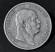 """Ernst Herzog von Sachsen Altenburg   2 Mark 1901 """"A""""   Silbermünze vzgl. J 142"""