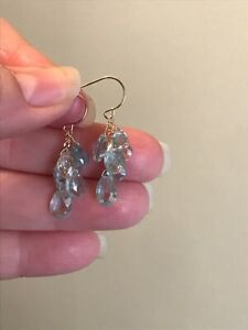 14K Gold Natural Aquamarine Briolette Earrings