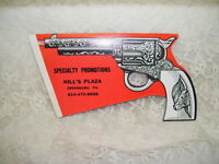 Specialty Promotions Advertisement on Cap Gun Shape Cardboard