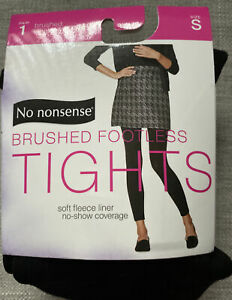 No Nonsense  Fleece Lined FOOTLESS TIGHTS size Small. Black