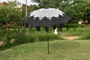 Black Ombre Mandala Garden Umbrella Large Outdoor Patio Parasols Umbrella Decor