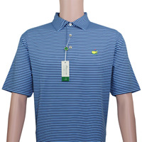 NEW 2019 Masters Golf Polo Shirt Men's L Clubhouse Collection Made In Italy Blue