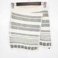 Zara Knit Womens Western Faux Wrap Skirt Size S Aztec Printed Stripe Cream Black