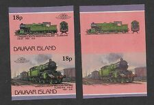 London & SW Railway. Imperforate pair + normal with black omitted error. MNH.