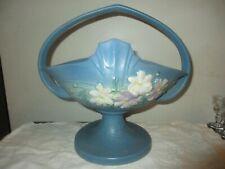 """VINTAGE ROSEVILLE USA 358-12"""" BLUE COSMOS FLOWER ART POTTERY BASKET, PLANTER"""