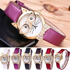 Cute Glasses Cat Women Girls Casual Watch Retro Dial Quartz Dress Wrist Watches