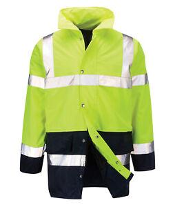 Hi Vis Hi Visibility Two Tone 3/4 Length Jacket - Hi Viz Yellow - LAMORAK