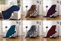 "Soft Plush Reversible Corduroy Textured / Sherpa Lined Throw Blanket 50"" x 60"""