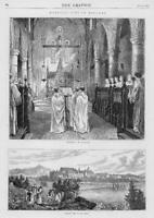 1872 Antique Print  - Monastic Life England Monks Choir Abbey Pews     (92)