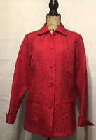 COLDWATER CREEK Jacket Medium Top Coat Blazer RED SILK Quilted Button Front