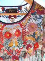 BIYA ~ JOHNNY WAS ~ JWLA ~ Colorful Embroidered Sheer Mesh Festival Boho Top ~ M
