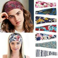 Boho Wide Cotton Stretch Headband Turban Women Yoga Knotted Hairband Wrap