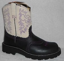 NEW ARIAT FATBABY ROUGH BLACK/CREAM LEATHER WESTERN COWGIRL BOOTS 10 M