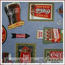 BonEful Fabric Cotton Quilt VTG Coca Cola Drink Bar Food Antique Coke Bottle OOP
