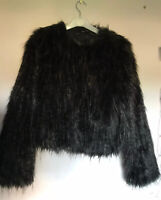 Very Fluffy Ladies Black Faux Fur Coat Jacket By Select UK Size 8 New!