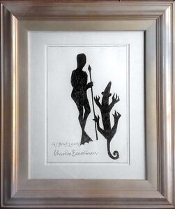 """Charles Blackman Rare pen and ink """"a hunter and Guanna"""" 70 cm. x 60 cm. framed!"""