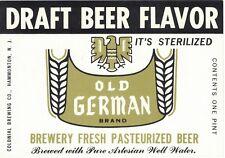 Old German Brand Draft Beer Flavor Beer Label