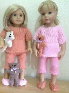 """Dolls clothes knitting pattern.18"""" doll. Pyjamas,slippers and teddy bear. KNM85"""