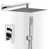Rain Shower System 8 inch Shower Head Bathroom Luxury Chrome Shower Faucet Set