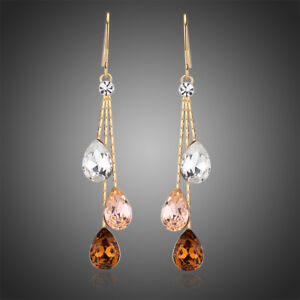 Multicolored Cryatal Earrings Gold Plated Long Water Drop Dangle Earring Jewelry