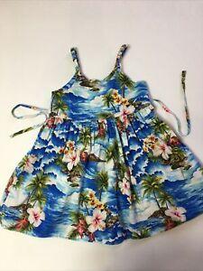 Pacific Legends Girls Sz 5 / 6 Hawaiian Blue Floral Dress Tropical Summer Sun