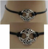 Sugar Skull Choker Necklace Silver Black Handmade Dia De Los Muertos Day of Dead