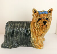 "Vintage Large Ceramic Dog Statue Yorkshire Terrier Yorkie Blue Bow  13"" X 11.5"""