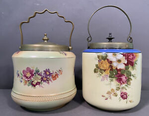 Lot (2) Antique VICTORIAN Style STROKE on TRENT Old PORCELAIN FLOWER BISCUIT JAR