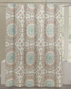 Cynthia Rowley Coral Tapestry Medallion Fabric Shower Curtain