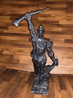 """Antique Early 1900's Cast Iron Mountable French Soldier Sculpture 14"""" High"""