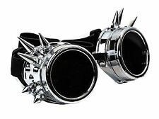 Silver Steampunk Chrome Motorcycle Flying Goggles Vintage Pilot Biker