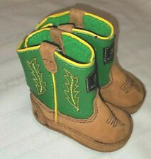 Baby Toddler John Deere Cowboy Boots Soft Bottom Rubber Non Slip Sole Size 1
