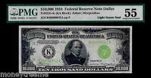 """FR 2231K $10,000 1934 GRADED PMG 55! """"LIGHT GREEN SEAL""""! TWO DIGIT #42 FEDERAL"""