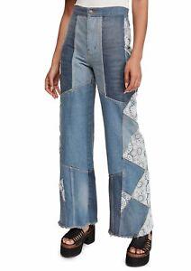 Free People Women's Jeans Blue Size 26 Patchwork Wide-Leg Denim $168 #505