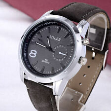 Faux Leather Band Sport Round Wristwatches with 12-Hour Dial