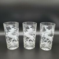 Federal Glass Vintage 1950s White Stag Antelope Set of 3 Tumblers NICE