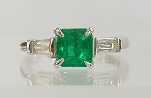 1.46 ct Platinum Colombian Green Emerald & Diamond Engagement Ring GIA