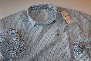 Tommy Bahama Shirt Bungalow Stripe Galaxy Blue BT318667 New LS XX-Large Big 2XL
