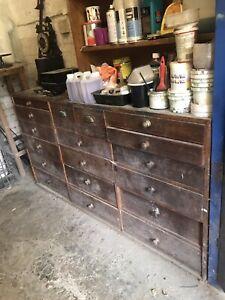 vintage workshop drawers
