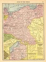 1910 Antique Map of Germany Vintage Germany Map Gallery Wall Art smap 7524