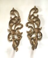 Vintage MCM Gold Homco Syroco Wall Sconces Candle Holders USA #4532R & L