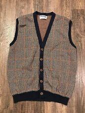 VTG Ping Karsten Golf Vest Cotton Knitted in Scotland Brown Blue Button Up Sz 44