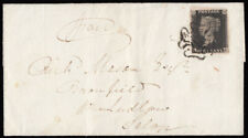 SG2 1841 1d. Black, plate 10, AH, on cover Kington, Herefordshire to Ludlow.