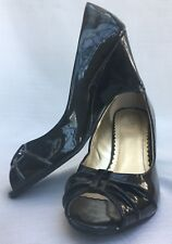 "Shoes FIONI 3"" Peep Toe BLACK PATENT LEATHER Wedges Non Skid 8 M"