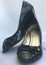 "Shoes FIONI 3"" Peep Toe BLACK PATENT LEATHER Wedges Non Skid 8 M"