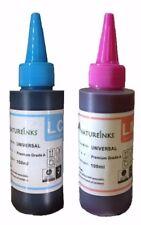 2 x 100ml Premium Light Cyan Light Magenta Printer Refill Ink dye Bottles kit