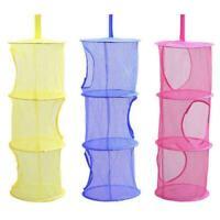 Hanging Storage Mesh Net Bathroom Closet Kids Toys Bag 3-Layers Organizer S3P7